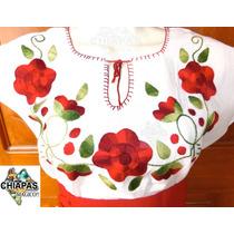 Blusas Bordadas De Chiapas (de Manta): Tres Flores Rojo Xl