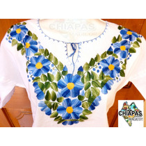 Hermosas Blusas Bordadas De Chiapas, Mod002: Azul /verde (m)