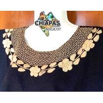 Hermosa Blusa Bordada De Chiapas: Mod007 Negra (mediana)