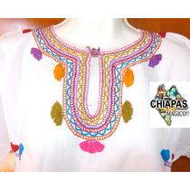 Hermosa Blusa Bordada De Chiapas, Mod25: Manta / Arcoiris(m)