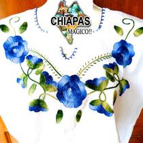 Blusas Bordadas De Chiapas (de Manta): 3 Flores Azul Liso(m)