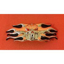 Hebilla Cinturon Dama De 1.5 Pulgadas Flamas Skull