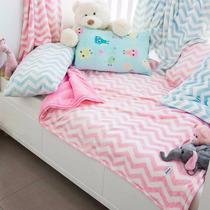 Cobertor Para Bebé Alaska Chevron Rosa Blanco Baby Shower