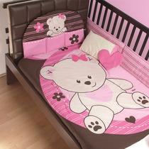 Set De Edredon Baby Pink Cama Cuna Corral Maa