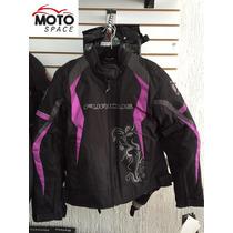 Chamarra Motociclista Furious Morada Dama Talla M