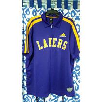 Playera Adidas Cuello Tipo Polo Con Cierre La Lakers Warm Up