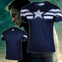 Playe Capitan America Super Heroes Avenger Dryfit Tarda 4 Sm
