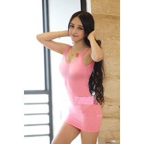 Baby Doll (mini Vestido) Rosa (talla L) Semitransparente-sex