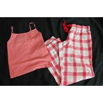 Daisy Fuentes Gap Set Pijama Rosa Cuadros Talla Xs