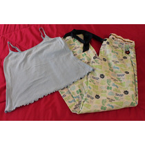 Pink Victoria Secret Set Pijama Pantalon Grafitty Talla S