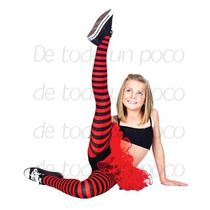Pantimedia Rayada Rojo Con Negro Talla 4-6 Años