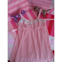 Victorias Secret The Pink Silk Baby Doll 100% Seda Sz M