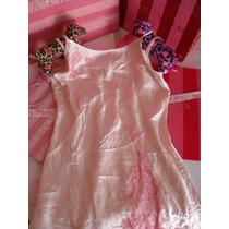 Victorias Secret Satin Jewel Sweet Pink Baby Doll Slip Sz: M