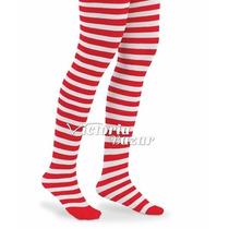 Pantimedia Rayada Rojo Con Blanco 7-9 Años Medias Navidad