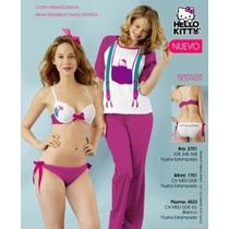Pijama De Rallas Fiusha Con Dibujo De Hello Kitty Y Tirantes