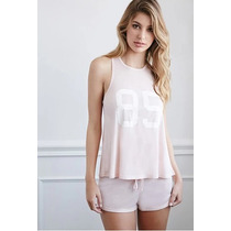 Forever 21 Set Pijama Boxer Y Tank Rosa Rayas Talla Chica