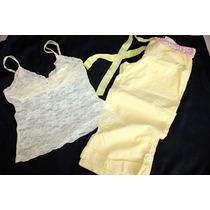 Pink Victoria Secret Pijama Capri Amarillo/rosa Talla S
