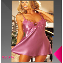 Baby Doll De Satin Con Lindo Bordado