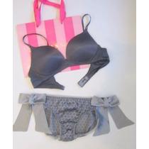 Victorias Secret Conjunto Lencería Bra Pantie Seda 34b / M