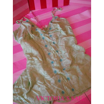 Victorias Secret Silk Baby Doll Apliques Chaquira Sz: M