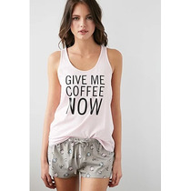 Forever 21 Set Pijama Boxer Y Top Give Me Coffee Talla Chica