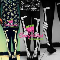 Malla Hueso Esqueleto Hallowen Media Moda Coreana Leggings