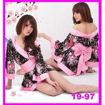 Sexy Kimono Negro Con Rosa Pastel.