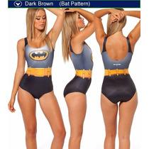 Sexy Traje De Baño Bikini Biquini Monoquini Estampado Batman