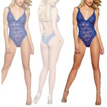 Lenceria Sexy Teddy Azul Ajustable Tiernamente Sensual