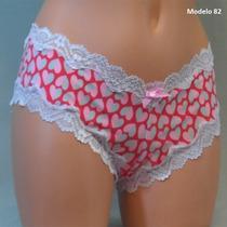 Victoria Secret Panty Estampada De Corazones Con Encaje Ros