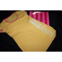 Love Victoria Secret Camison Amarillo Logos Talla Chica