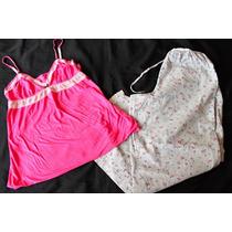 Victoria Secret Calvin Klein Set Pijama Rosa Gris Talla L