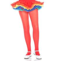 Pantimedia Semi Opaca Rojo Talla 10-13 Años Ballet Danza