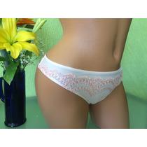 Victorias Secret Panty Tanga Blanca Con Bordado Rosa