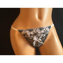 Victorias Secret Lenceria Tanga Negra Bordado En Rosa 1mt1