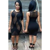 Sexy Mini Vestido Negro Transparencias Frente Table Dance