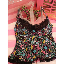 Victorias Secret The Flowered Top Blusa Tipo Corset Sz S