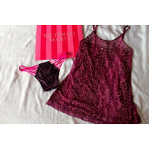 Victoria Secret Set Baby Doll Con Tanga Chica Ciruela