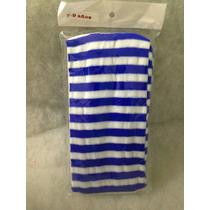 Mallas Delgadas Nylon Rayada Azul Con Blanco Niña
