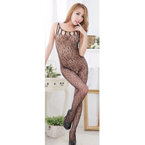 Bodystocking Negro, Animal Print (leopardo) Crotch Red Chica