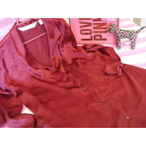 Victorias Secret The Red Satin Sleep Shirt Sz L
