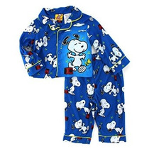 Peanuts Snoopy Del Niño Del Bebé Azul De Franela Pijamas