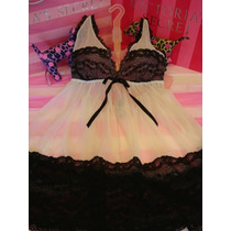 Victorias Secret The Mesh Luxury Lace Black Baby Doll Sz L