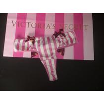 Victoria Secret Sexy Tanga De Hilo Rosa Detalles Coquetos Xs