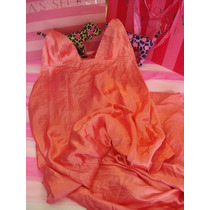 Victorias Secret Satin Coral Maxi Dress Baby Doll Largo M
