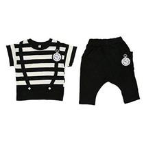 Urparcel Niños Rayado Tops Camisetas Shorts Harem Conjuntos