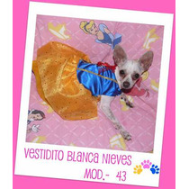 Hermoso Vestidito De Blanca Nieves,, Tu Mascota Lucira Fashi