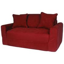 Elegante Sofa Cama De Gamuza Fun Furnishings Rojo