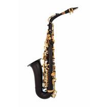 Saxofón Alto Negro-oro Profesional Lazarro Con Accesorios