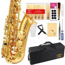 Gloria Profesional Alto Eb Sax Saxofón Oro Laquer Finalizar,